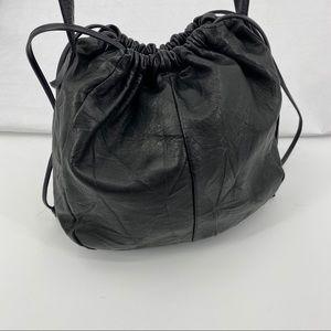 Vintage black leather Pioneer bucket bag